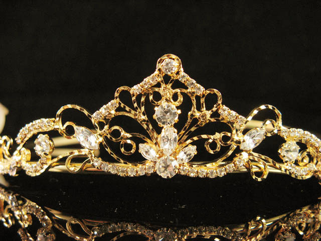 GOLDEN BRIDESMAID WEDDING TIARA ,RHINESTONE BRIDAL BRIDE TIARA COMB 5831