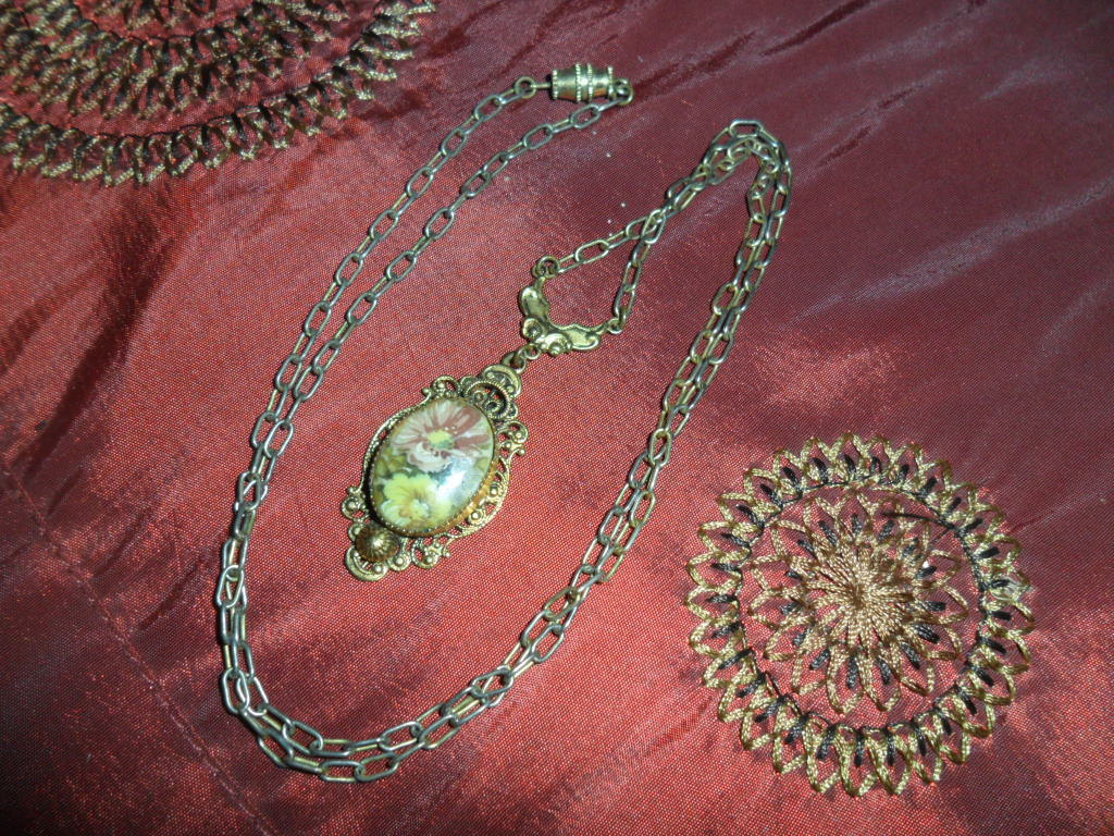 Ornate Florial Pendant on Gold-tone Chain