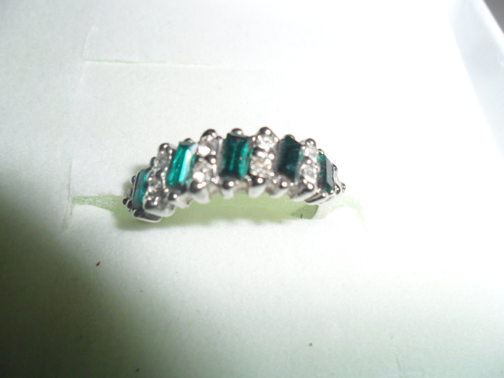 Silver Plated and Green Stone Ring