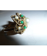 Sara Coventry 1950's Cocktail Ring with Pearl and Jade Beads - $30.00