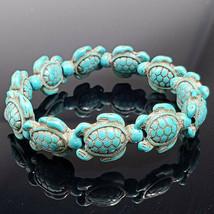 White Turquoise Stone White Turtle Beaded Stretch Bracelet Fashion Jewel... - $6.99