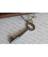 Vintage Skeleton Key Necklace with Bird Charm - $34.00