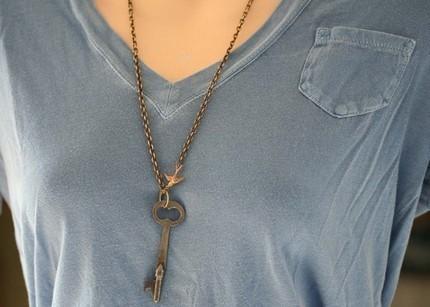Vintage Skeleton Key Necklace with Bird Charm