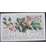 Antique, J. Herman, White Bordered, Early Divided Back, Embossed Christm... - $8.00