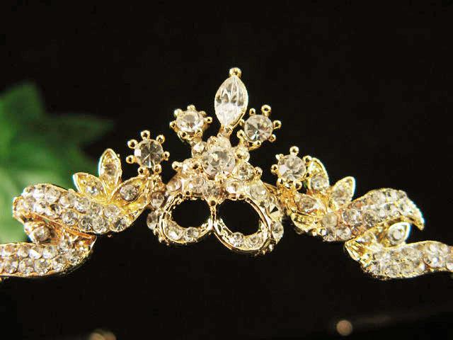 GOLDEN WEDDING CRYSTAL BRIDE TIARA ,RHINESTONE BRIDAL BRIDESMAID ACCESSORY 637G