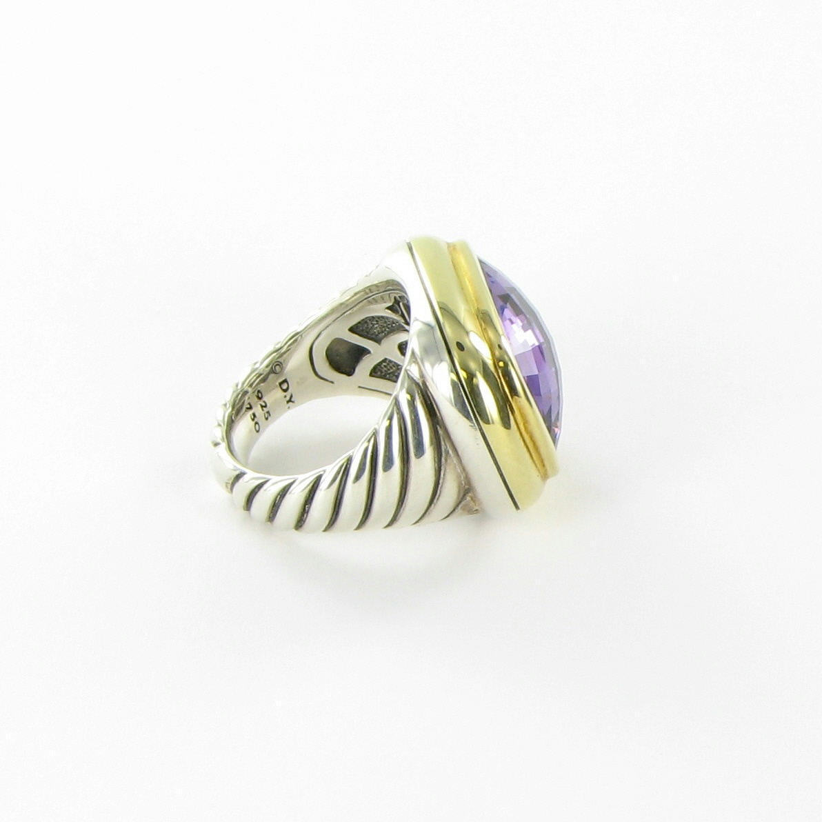 David Yurman Waverly Ring 18mm Amethyst 18K Yellow Gold Bezel Sterling Sz 6 New