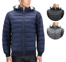 Men's Sherpa Lined Lightweight Hooded Zipper Insulated Quilted Puffer Jacket