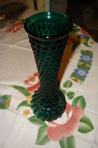 Vintage Depression Glass Green Vase - $8.00