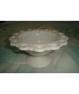 Milk White Lace Edged Compote Bowl Depression - $7.00