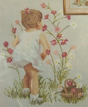 "CROSS STITCH KIT from Janlynn GIRL WITH COSMOS Flowers #29-18 NIP 12"" x ... - $16.44"