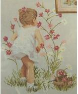 "CROSS STITCH KIT from Janlynn GIRL WITH COSMOS Flowers #29-18 NIP 12"" x ... - $16.44"