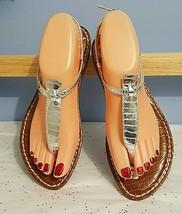 Sam Edelman Thong Flip Flop Sandals Shoes Metallic Silver Size 7.5M - $24.75