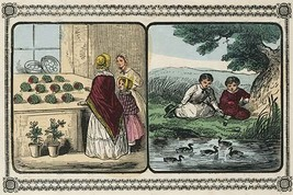 Women visit a shop that sells plants and boys by a pond count ducks. by Charles  - $19.99+