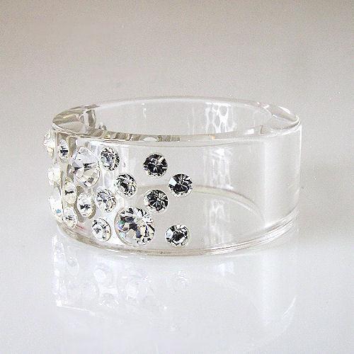 New Clear Acrylic Band Ring Large & Small Randow Row Swarovski Elements Crystal image 5