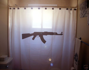 SHOWER CURTAIN gun AK47 ak 47 assault rifle military