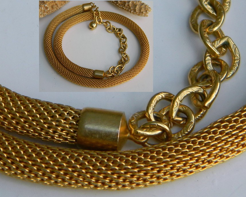 Vintage Mesh Choker Necklace Coil Rope Gold Tone 18 Inches