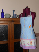 Child Lined Cotton Apron w/Pockets - Winnie the Pooh (Pink/Blue) - Child Large - $12.99