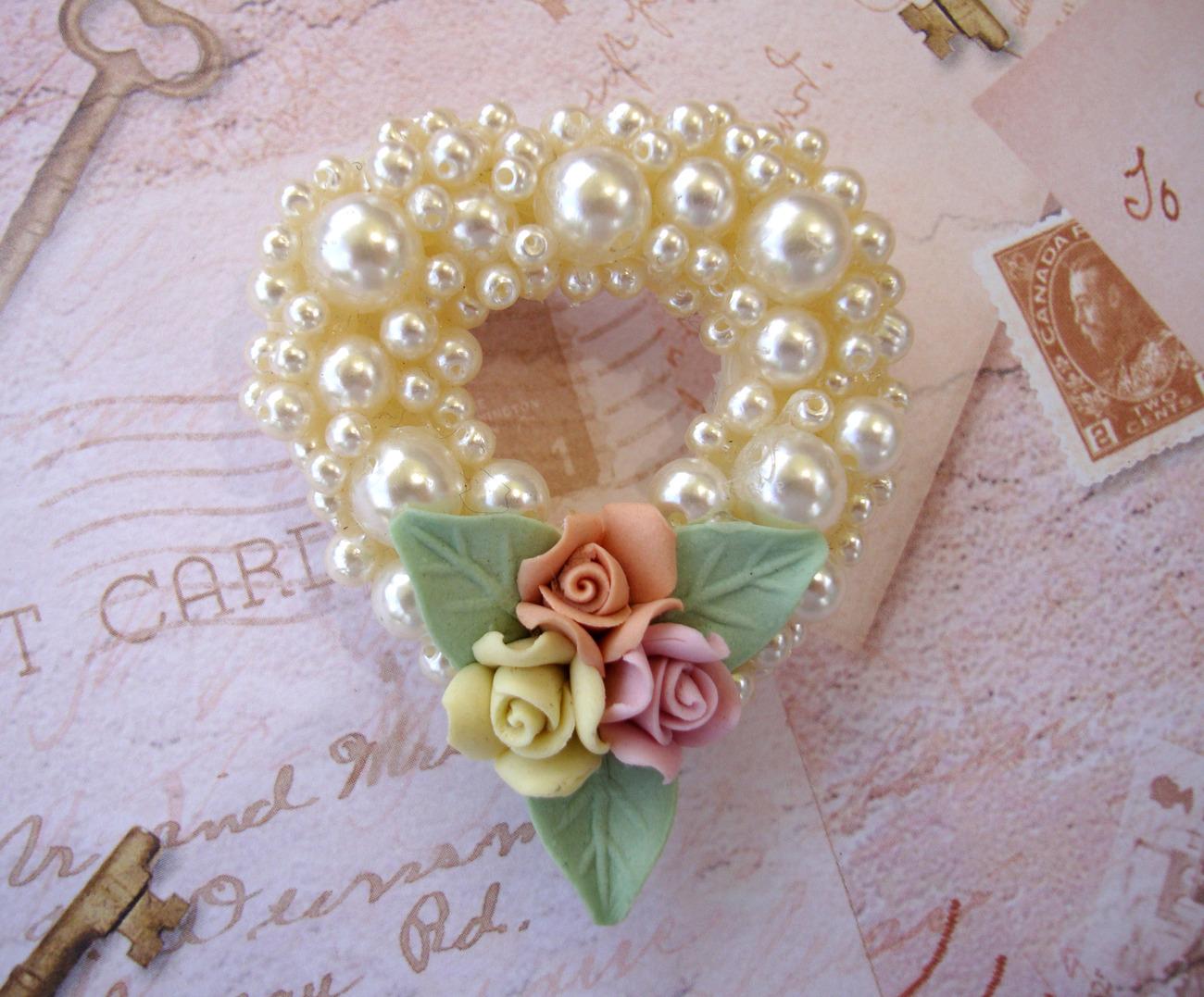 Heart Shaped  Pearl & Porcelain Brooch
