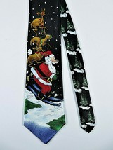 Christmas Hallmark Novelties Necktie Santa Skiing Reindeer Trees 60 X 4 Inches - $19.68