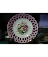 Beutiful Pink and White Rose Lace edged plate - $10.00