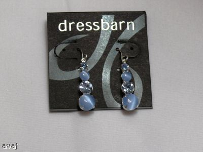 Dressbarn BabyBlue Rhinestone/Bead Chandlier Earrings