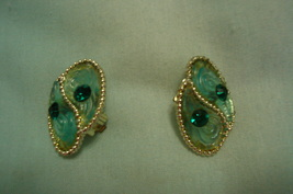 Vintage Green Clip on Earrings - $8.00