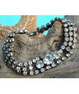 Vintage Clear Rhinestone Bracelet 3 Rows Round Prong Set - $21.95