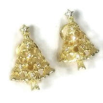 Vintage Gold Tone Clear Studded Christmas Tree Clip On Earrings - $14.85