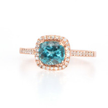 1.20 Carat Paraiba Color Apatite And Diamond Ring In 14k Rose Gold (27640) - $544.50