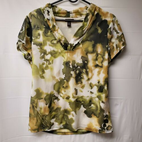 Primary image for Dana Buchman Medium Green Watercolor Short Sleeve Top V Neck Blouse