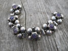 Mexico sterling silver Amethyst bracelet Repous... - $400.00