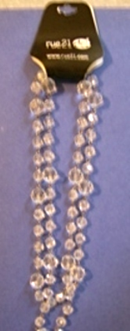 Rue 21  Silvertone Clear Beaded Long Necklace