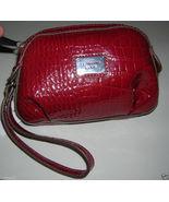 LIZ CLAIBORNE RUBY RED SHINY PLEATED FAUX CROC ... - $15.99