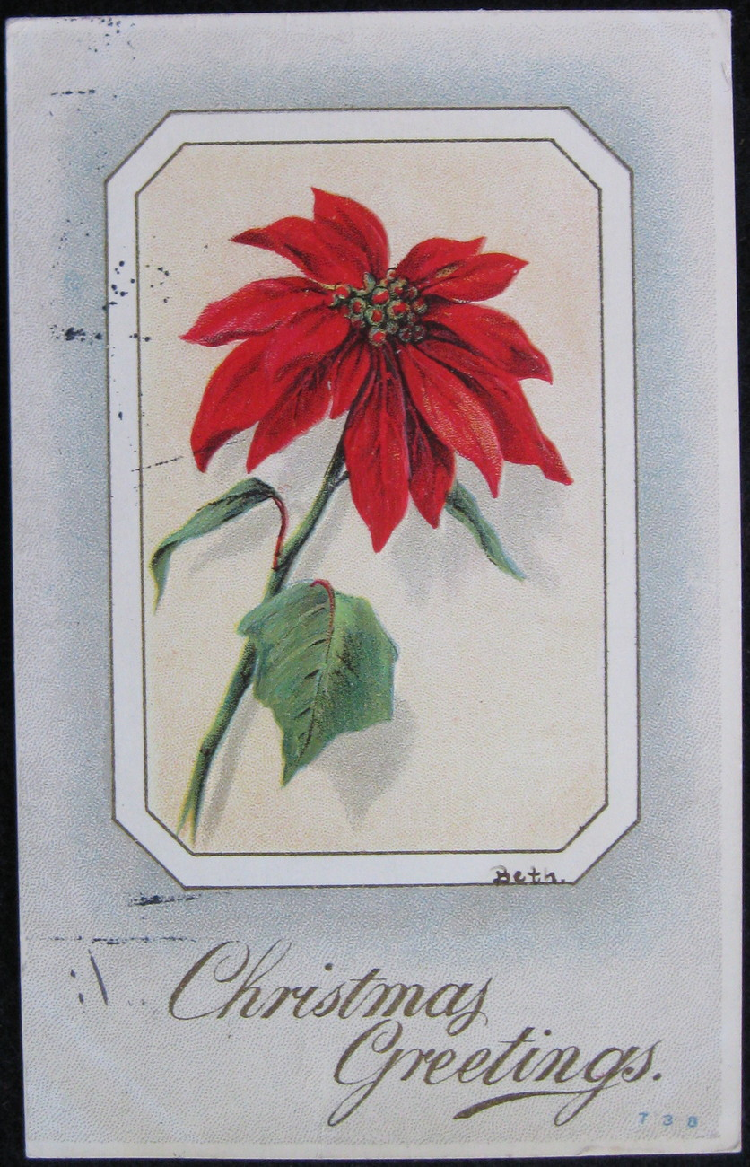 Primary image for Antique, Divided Back, Embossed Christmas Postcard, Signed Beth, Christmas Greet