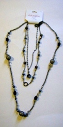Primary image for 3 Strand Xhilaration Necklace Black Gray Silver Smoke