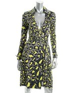 Diane von Furstenberg Jeanne Snow Leopard Gray Wrap Dress 8 - $199.99