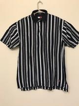 Tommy Hilfiger Men's LARGE Polo Rugby Short Sleeve Shirt Green Stripe Flag - $34.64