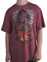 LRG Hombre Rojo Granate Don'T Do Drogas Smoke Weed Marihuana Camiseta Medio Nwt