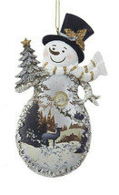 KURT ADLER RESIN WINTER WOODS SNOWMAN w/SILVER WINTER SCENE BODY XMAS OR... - $9.88