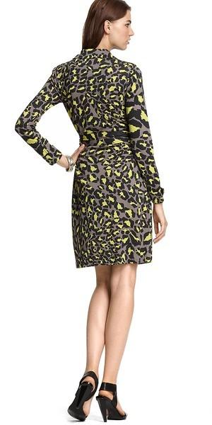 Diane von Furstenberg Jeanne Snow Leopard Gray Wrap Dress 8