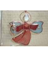 RED GLASS ANGEL with COPPER STAR Ornament - Beautiful Item! - $2.99
