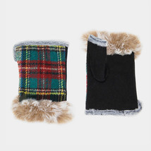 Plaid Fingerless Fur Gloves  - $14.00