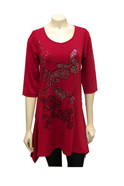 Primary image for LADY NOIZ  RED TUNIC WITH A DESIGN IN THE FRONT MADE OF CLEAR AND RED RHINESTONE