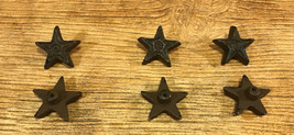 "Six Small Stars 1 3/4"" Cast Iron Rust Drawer Cabinet Pulls Handles 0170-... - $13.60"