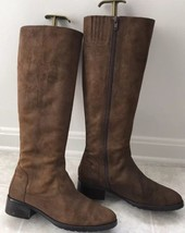 Donald J Pliner Oiled Brown Suede Leather Side Zip Boots Size 7.5 - $69.29