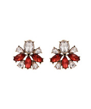 Red Crystal Stud Earrings, Unique Rhinestone Exquisite Crystal Blue Earrings - $12.00