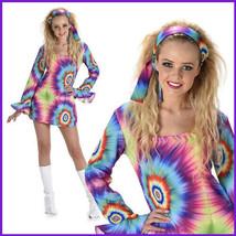 Karnival Costumes 70s Retro Hippie Tie Dye Dress with Headband Bootcover... - $34.64