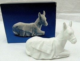 "Avon Nativity Donkey Animal Porcelain Figurine  3"" x 4""  White 1984 Vintage  - $19.79"