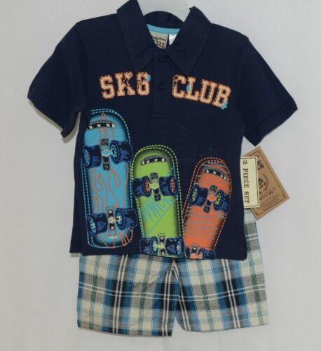 Little Rebels SK8 Club Polo Shirt Short Set Blue Plaid Size 12 Months