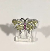 Sterling Silver Women's Butterfly Cocktail Ring With Multi Color cz Stones - $64.52